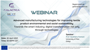 "GALACTICA project Webinar on ""Advanced manufacturing technologies for improving textile product environment and social sustainability"" – April 20th"