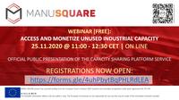 INSCRIÇÕES ABERTAS: Webinar de lançamento do serviço de Capacity Sharing da plataforma MANU-SQUARE