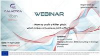"""Webinar do projeto GALACTICA """"How to craft a killer pitch: what makes a business pitch effective?"""" – 14 de abril"""
